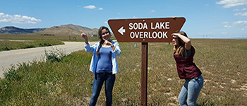FLEX program participant from Kazakhstan with her California host sister at Soda Lake Overlook