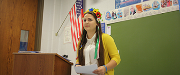 Ukrainian exchange student giving presentation at her host high school