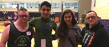 PAX international student from Mexico and his host sister supporting Special Olympics athletes in Minnesota