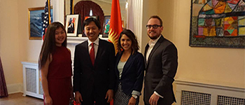 Gulnura and her host dad visit the Kyrgyzstan embassy while on a trip to Washington, D.C.