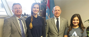 PAX students from Georgia and Ukraine with their Louisiana community coordinator and mayor as part of the CEW