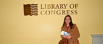 Kennedy Lugar Youth Exchange and Study program participant from Kosovo at the Library of Congress in Washington, D.C.