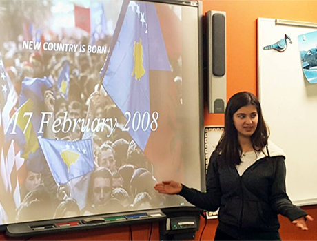 International exchange student teaches classmates about Kosovo during International Education Week in Wisconsin