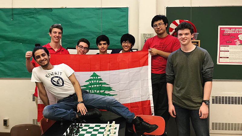 Kennedy Lugar Youth Exchange and Study program participant from Lebanon presents his culture to a chess club in Oregon