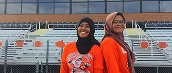 PAX student from the Philippines and exchange sister from Indonesia at their Illinois high school