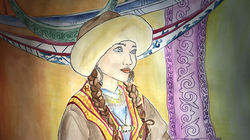 Painting of teenage girl from Kazakhstan, an exchange student in Vermont