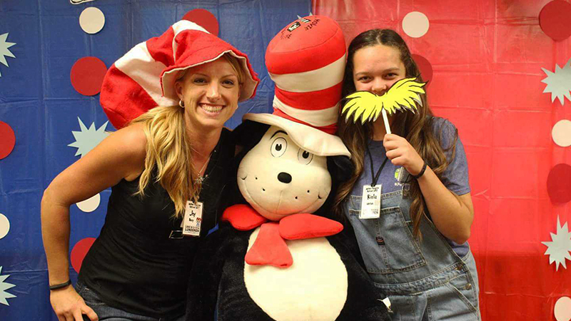 YES international student from Kosovo with her host mom and Dr. Seuss at a Mother and Daughter camp in Wisconsin