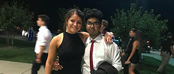 YES student from Bangladesh with an American friend at his high school's homecoming dance in Indiana