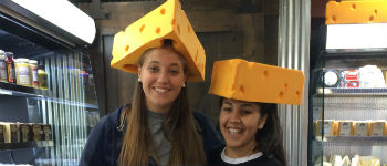 Foreign exchange students from Germany and France wearing Cheesehead hats in Wisconsin