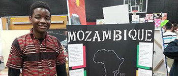 YES foreign exchange student sharing about Mozambican culture at a local cultural fair in Missouri