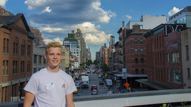 German exchange student discovering the High Line and the Meatpacking District during arrival orientation in NYC