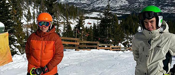 PAX international student from Spain skiing with his New Hampshire host brother on a family trip to Colorado