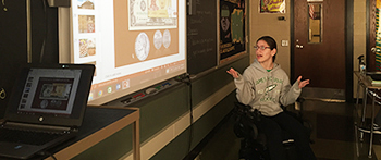 FLEX student from Moldova gives a presentation about her culture during International Education Week in Pennsylvania